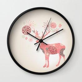 Flower deer Wall Clock