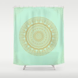 Mandala Lace in Gold and Mint Shower Curtain