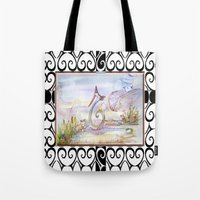 swan queen Tote Bags featuring Swan by CrismanArt