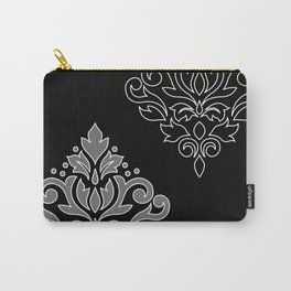 Scroll Damask Art I Wt Line Gray Blk Carry-All Pouch