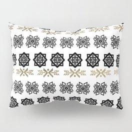 Black white faux gold watercolor hand painted scandinavian Pillow Sham