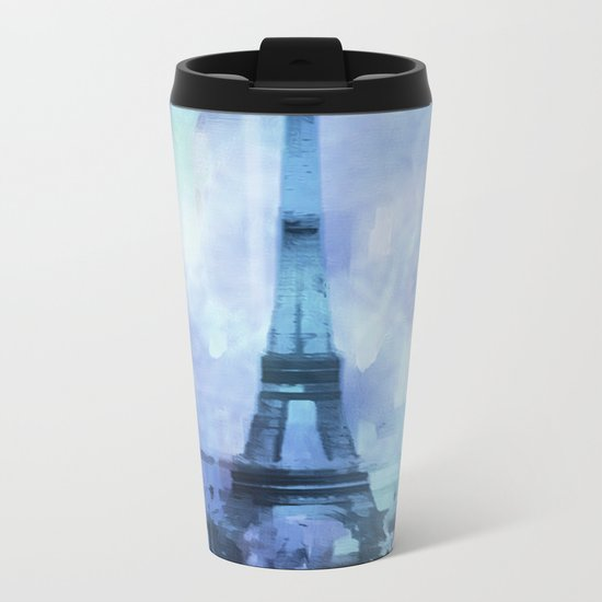 Blue Eifel Tower Paris France abstract painting Metal Travel Mug