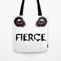 fierce Tote Bags featuring Fierce by Nicolekay