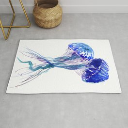 Jellyfish, Aqua Blue Marine Beach Art Rug