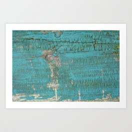 Rustic Wood with Bright Turquoise Paint Weathered Aged to perfection Art Print
