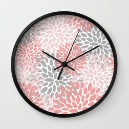 Floral Pattern, Coral Pink and Gray Wall Clock