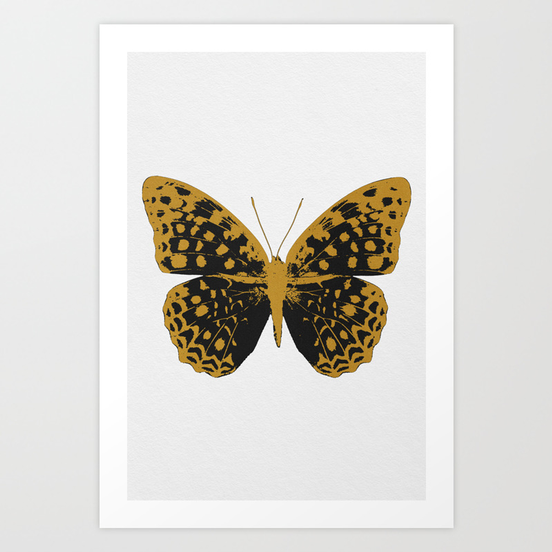 Black Butterfly Art Print By Paperpixelprints Society6