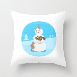 Snowman's Best Friends Throw Pillow