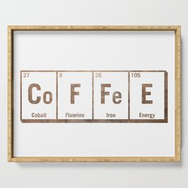 Natural coffee science periodic table Serving Tray