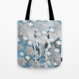 ELEPHANT AND FLOWERS Tote Bag