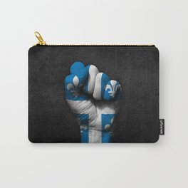 Quebec Flag on a Raised Clenched Fist Carry-All Pouch