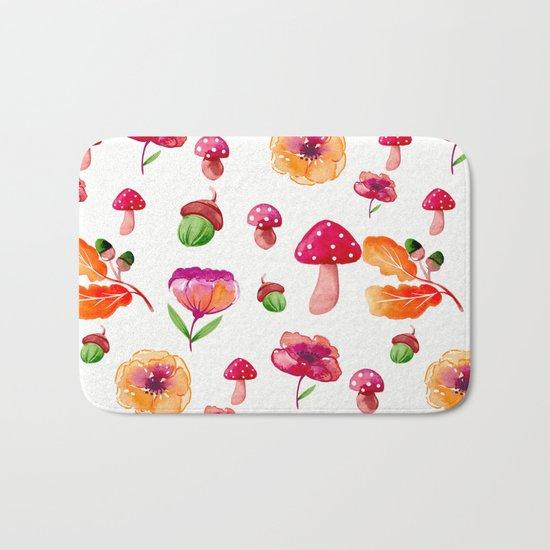 Botanical garden - watercolor Bath Mat