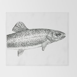 Rainbow Trout Drawing Throw Blanket