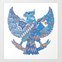 batik culture on garuda silhouette illustration by grizper