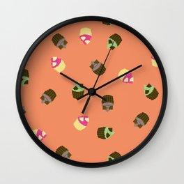 Triple Chocolate Pixel Cupcake Pattern Wall Clock
