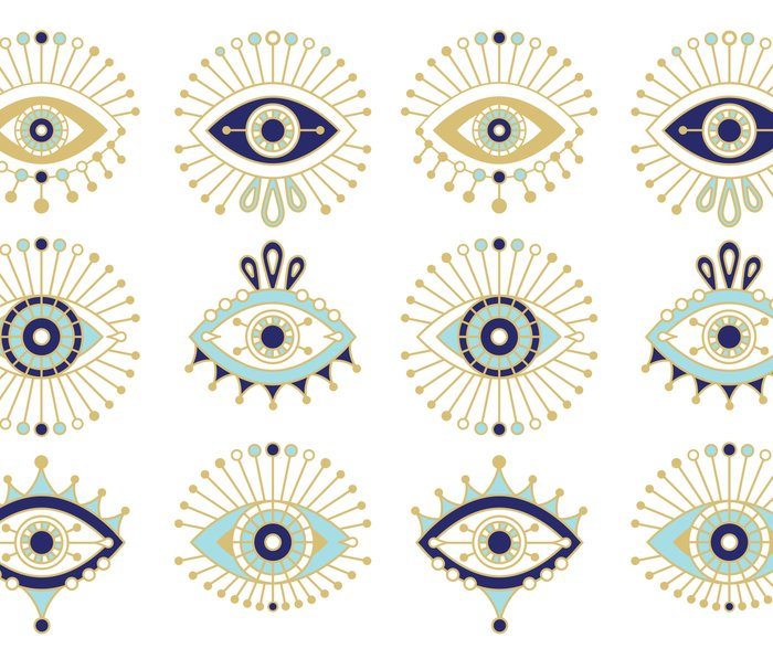 Evil Eye Collection on White Metal Travel Mug
