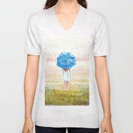 A girl with an umbrella Unisex V-Neck