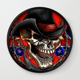 Flag Usa America United States civil war military poster skull Wall Clock