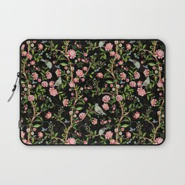 Vintage & Shabby Chic - Antique Midnight Botanical Chinoiserie Garden With Flowers Birds  Laptop Sleeve
