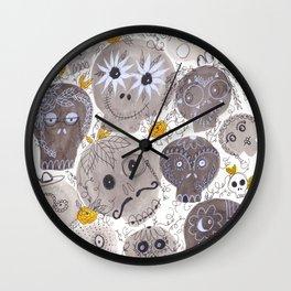Inktober Sugar Skulls Wall Clock