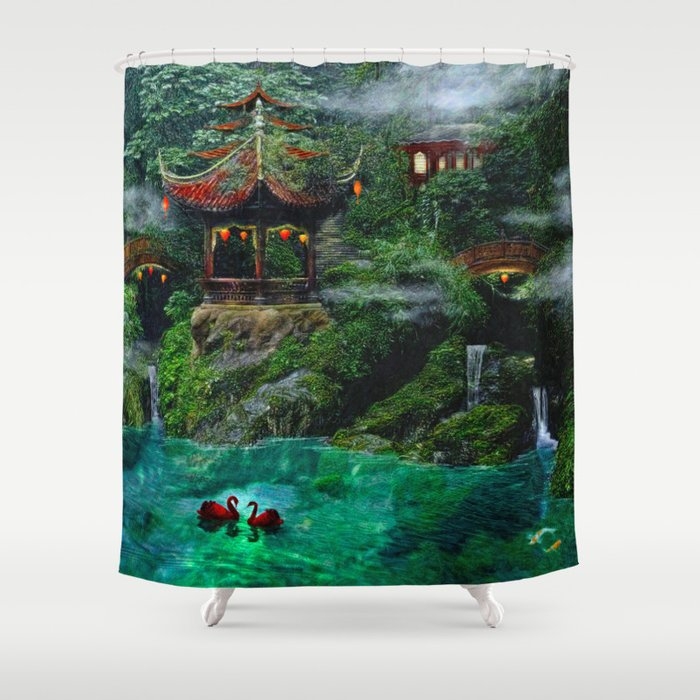 Tale of the Red Swans Shower Curtain