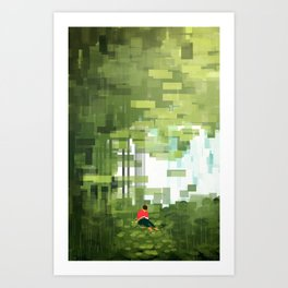 Reading in a Forest Art Print
