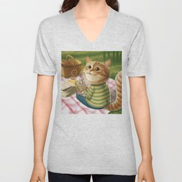 A cat is having a picnic Unisex V-Neck