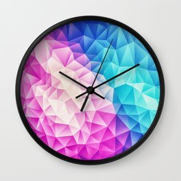 Pink - Ice Blue / Abstract Polygon Crystal Cubism Low Poly Triangle Design Wall Clock
