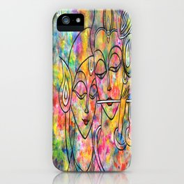 Radha Krishna Abstract colorful painting by Manjiri Kanvinde iPhone Case
