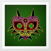 majoras mask Art Prints featuring Sugarskull / Majoras mask /color by tshirtsz