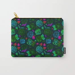 Watercolor Floral Garden in Electric Black Velvet Carry-All Pouch