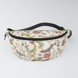 Moths on Ivory Wildflowers Fanny Pack