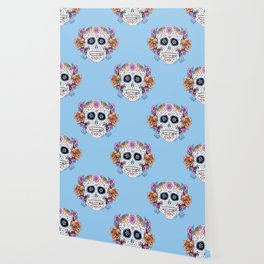 Sugar Skull in Blue and Coral Wallpaper