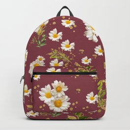 Pretty Whites Gerber Daisies Flower Pattern Red Background Backpack