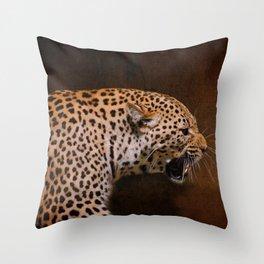 Snarling Leopard Throw Pillow