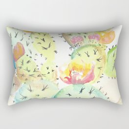 Watercolor Cute Cactus With Flowers Rectangular Pillow