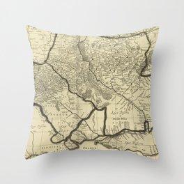 Vintage Map of Ukraine (1696) Throw Pillow