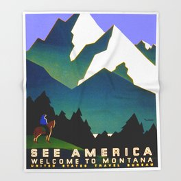 See America Montana - Retro Travel Poster Throw Blanket