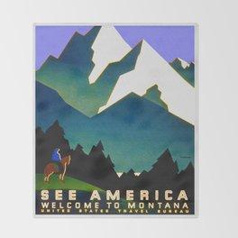 See America Montana - Retro Travel Poster Throw Blanket