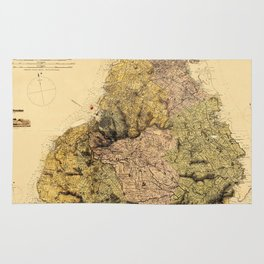 Map Of Mauritius 1880 Rug