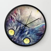 kitty Wall Clocks featuring Kitty by jbjart
