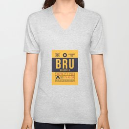 Baggage Tag B - BRU Brussels Belgium Unisex V-Neck