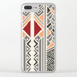 Tribal ethnic geometric pattern 034 Clear iPhone Case