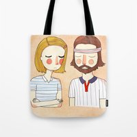 nan lawson Tote Bags featuring Secretly In Love by Nan Lawson