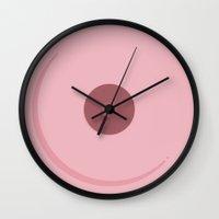 boob Wall Clocks featuring Boob (hers) by Chucho Nieto