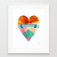 feminist Framed Art Prints featuring Feminist by The Pairabirds