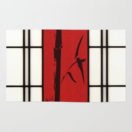 Shoji with bamboo ink painting Rug
