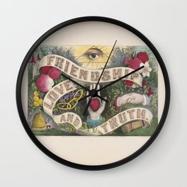 Friendship Love And Truth Vintage Sentiment Gift Wall Clock