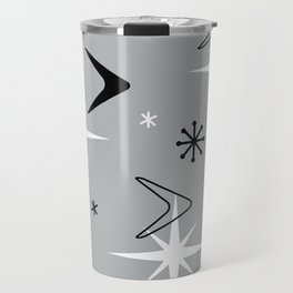 Vintage 1950s Boomerangs and Stars Gray Travel Mug
