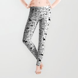 Black and White Dog Drawings | Cute Canines Pattern Leggings